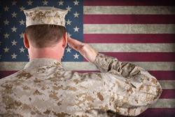 VETERAN SOLDIER   Marine in Desert Fatigues Saluting an American Flag