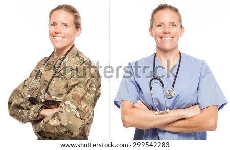 VETERAN SOLDIER | MILITARY TRANSITION TO CIVILIAN WORKPLACE | Female Army doctor or nurse in uniform on white background.  Military to civilian transition showing woman in scrubs. ストックフォト ©