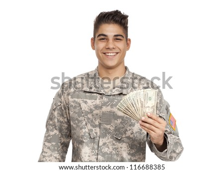 VETERAN SOLDIER | MONEY FOR COLLEGE | PAYDAY LOAN | MILITARY FUNDING| Happy serviceman holds money