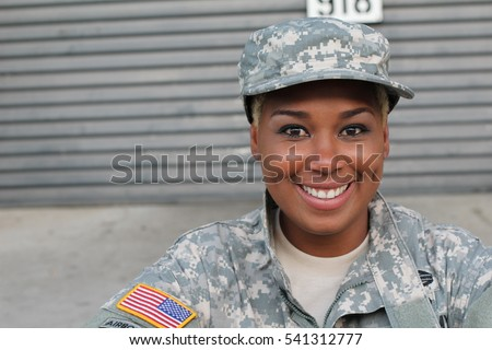 Veteran Soldier smiling and laughing. African American Woman in the military