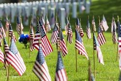 veterans cemetery memorial celebration with American Flag