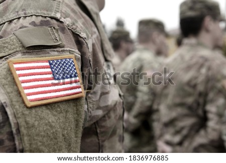 Photo of  Veterans Day. US soldiers. US Army. Military forces of the United States of America.