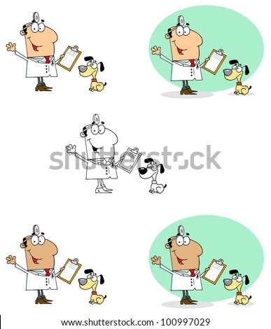 Veterinarian Man With A Dog. Raster Illustration.Vector version also available in portfolio.