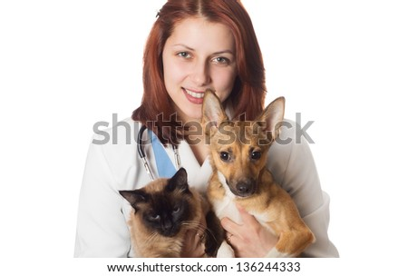 Veterinarian on white background isolated