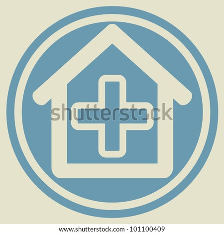 Veterinary sign house with cross
