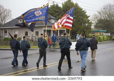 VFW Color Guard Marching on a Foggy, Wet Day