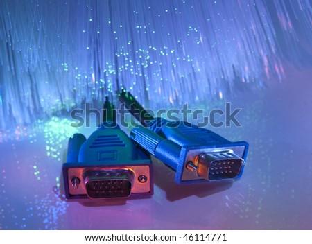 vga monitor plug with fiber optical background