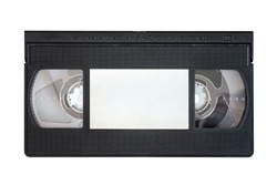 VHS video tape cassette isolated on white background.