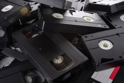 VHS videocassettes on the table