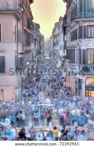 Via Condotti, Roma, from the Piazza di Spagna