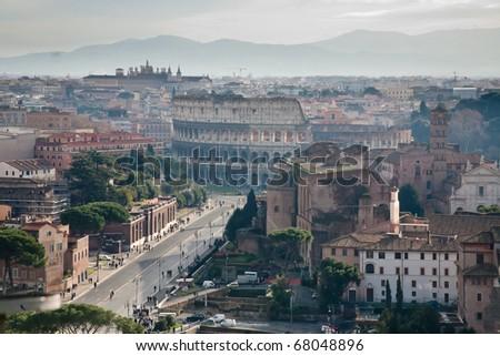 Via dei Fori Imperiali to Coliseum, Rome, Italy