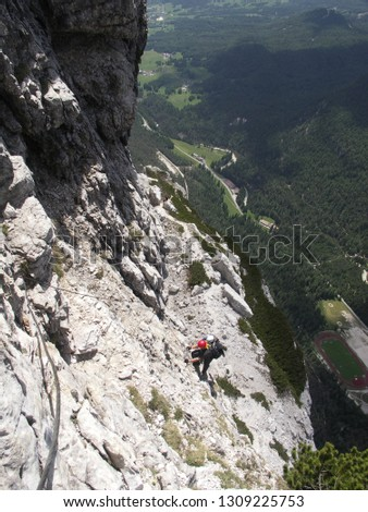 Via ferrata in Dolomites Mountains Italy Cortina D Ampezzo, Punta Fiames summit Michielli Albino Strobel via ferrata