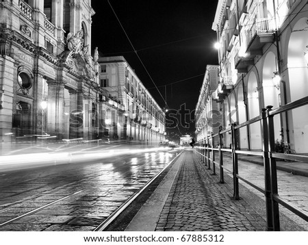 Via Po, ancient central baroque street in Turin (Torino) - high dynamic range HDR - black and white