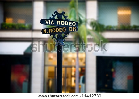 Via Rodeo and N. Rodeo Drive sign in Beverly Hills.