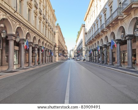 Via Roma central high street in Turin Italy