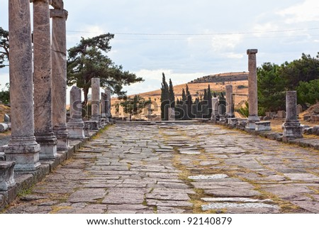 Via Tecta, the Roman sacred street leading to the Asklepion in Roman city Pergamum. The Asklepion of Pergamum was something in between a sanctuary and a spa resort.
