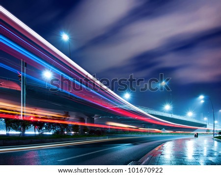 Viaduct below the light trails