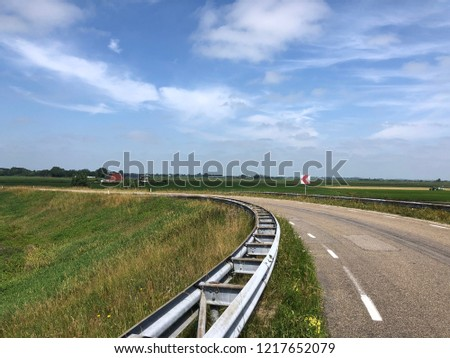 Viaduct over highway A7 in Friesland The Netherlands