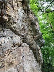 Viaferrata Klettersteig at beautiful Hohe Wand mountains plateau near Vienna in Austria