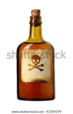 Vial with poison isolated over white background
