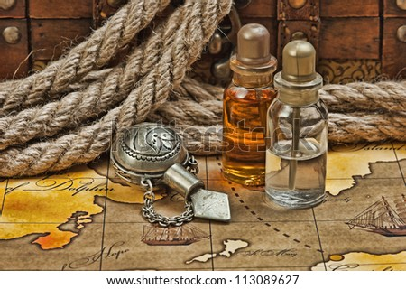Vials of perfume oils, still-life