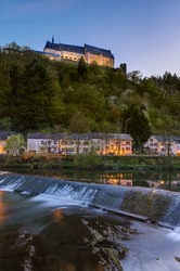Vianden castle in Luxembourg - architecture background