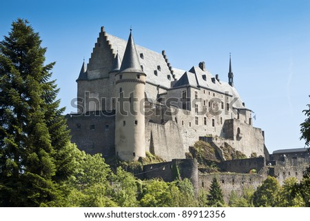 Vianden castle. It is located in Vianden in the north of Luxembourg. It is one of the largest fortified castles west of the Rhine.