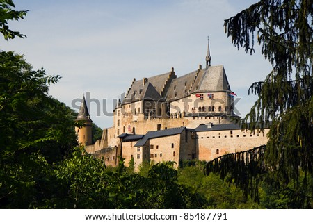 Vianden, Medieval castle on the mountain in Luxembourg or Letzebuerg, view through the trees - horizontal image
