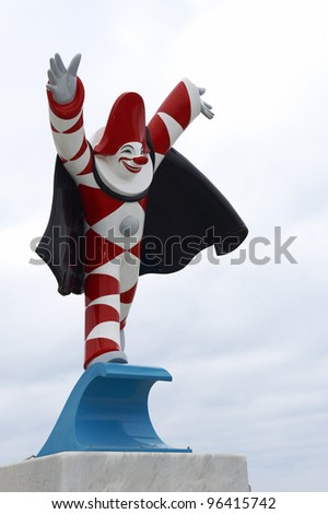 VIAREGGIO - FEBRUARY 26 : the parade of  carnival floats,the typical mask of Burlamacco, February 26,2012 in Viareggio,Italy