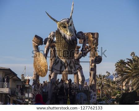 VIAREGGIO, ITALY - FEBRUARY 2:    allegorical float about greek mythology  at Viareggio Carnival held February 2, 2013