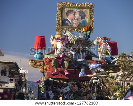 VIAREGGIO, ITALY - FEBRUARY 2:   allegorical float about the world politics situation at Viareggio Carnival held February 2, 2013