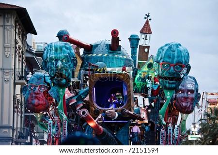 VIAREGGIO, ITALY - FEBRUARY 21: Carnival floats parade on the promenade of Viareggio, during the famous Carnival of Viareggio on February 21, 2010 in Viareggio, Italy