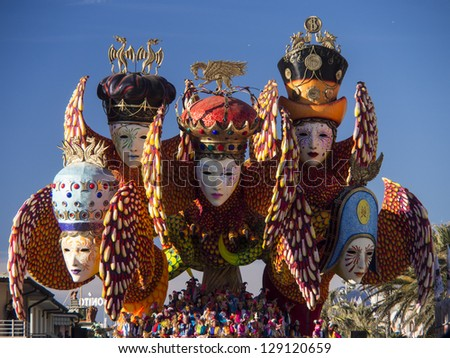 VIAREGGIO, ITALY - FEBRUARY 2:   float about carnival mask at Viareggio Carnival held February 2, 2013