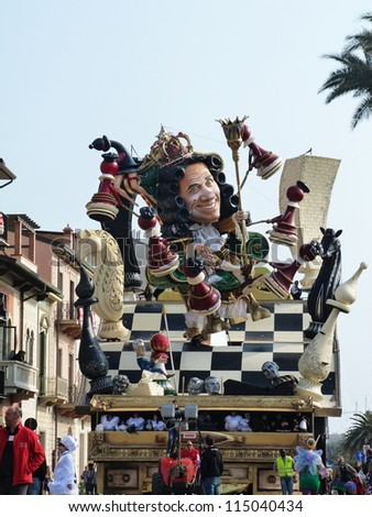 VIAREGGIO, ITALY - MARCH 4 Carnival float at the parades on the promenade during the famous annual Italian Carnival of Viareggio on march 4, 2012 in Viareggio, Italy