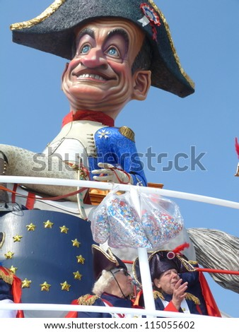 VIAREGGIO, ITALY - MARCH 4:Carnival float at the parades on the promenade during the famous annual Italian Carnival of Viareggio on march 4, 2012 in Viareggio, Italy