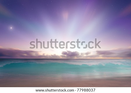 Vibrant beach sunrise sunset