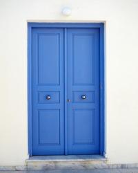 vibrant blue door, Mediterranean house