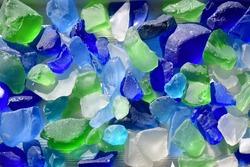 Vibrant blue, green, aqua, aquamarine and turquoise sea glass