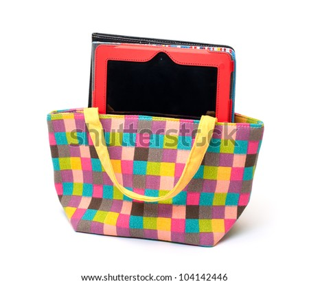 Vibrant Cloth Ladies Handbag with Tablet PC on white background