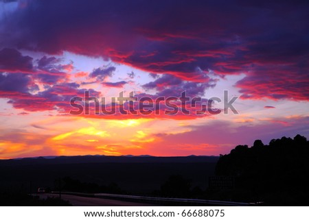 Vibrant cloudscape at sunset