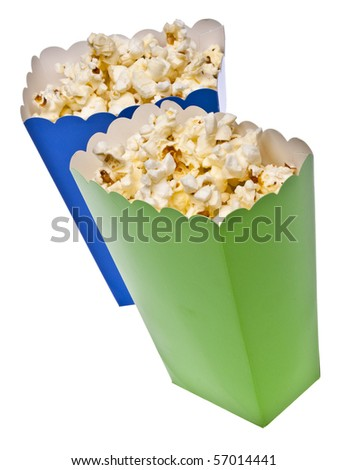 Vibrant Colored Treat Boxes Filled with Popcorn Isolated on White with a Clipping Path.