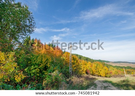 Vibrant colored trees at mountainside next to a serpentine road in mountains and electricity poles in a row in late autumn. Beautiful nature, colorful autumn background with blue sky  #745081942