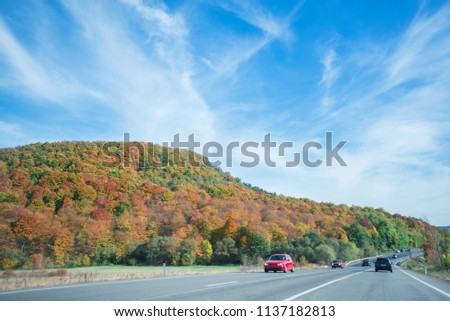 Vibrant colored trees on at mountainside next to a busy highway in late autumn. Beautiful, colorful autumn background.  #1137182813
