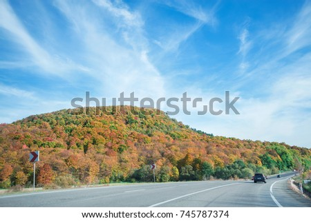 Vibrant colored trees on at mountainside next to a busy highway in late autumn. Beautiful, colorful autumn background #745787374