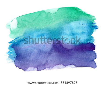 Vibrant emerald green to dark purple gradient painted in watercolor on clean white background