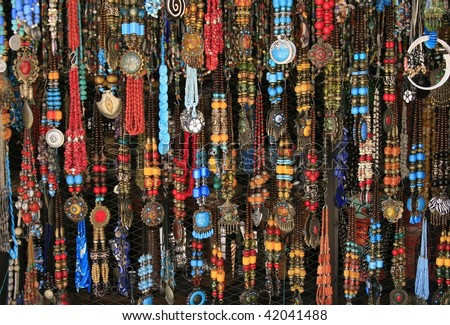 Vibrant ethnic necklaces from the village market, Chefchaouen, Morocco