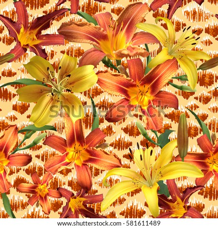 Vibrant floral pattern blossom flowers orange colour lilies seamless background. Amazing photo collage for floral design.