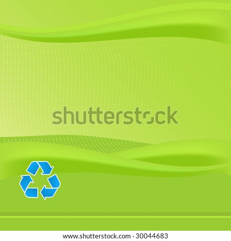 Vibrant Green report cover template. Features blue recycling symbol. Various eco friendly concepts can be promoted with this background.