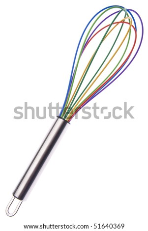 Vibrant Kitchen  Whisk Isolated on White with a Clipping Path.