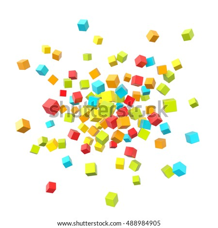 Vibrant multicolored plastic reflective cubes composition on white background, bright 3d render illustration